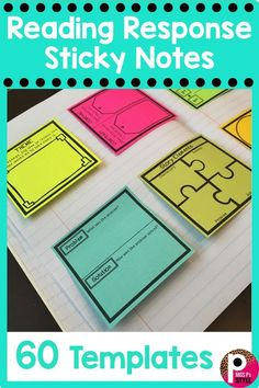 These sticky note templates have worked well with keeping my students engaged wh. - Miss P's Style: Reading and Writing Activities - These sticky note templates have worked well with keeping my students engaged when responding to th - Reading Strategies, Reading Activities, Literacy Activities, Reading Skills, Teaching Reading, Comprehension Strategies, Reading Comprehension, Guided Reading Table, Guided Reading Organization