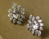 Art Deco CZ Bridal Earrings  , Leaves Earrings, Pearl Earrings, Cubic Zircon ,Vintage Jewelry ,Bridal , Jewelry
