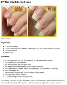Nail growth Nagelwachstum Beauty Tips Beauty Care, Diy Beauty, Beauty Skin, Health And Beauty, Beauty Ideas, Beauty Secrets, Nail Growth Tips, Nail Care Tips, Nail Tips