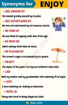 ENJOY Synonym: List of 14 Synonyms for Enjoy in English - 7 E S L