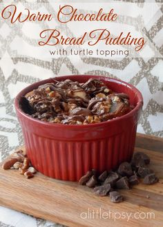 Warm Chocolate Bread Pudding with Turtle Topping #Truvia #holidaysweets