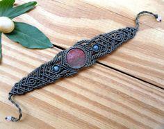 Agate macrame bracelet tribal jewelry macrame by SelinofosArt