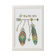 Dream on quote aztec arrow modern cross от AnimalsCrossStitch