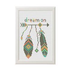Dream on quote aztec arrow modern cross by AnimalsCrossStitch