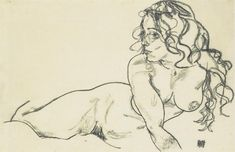 Egon Schiele. Female Nude with Long Hair Reclining, 1918