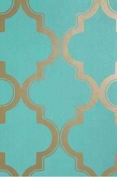 Aqua and Gold pattern - Wallpaper Ideas