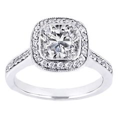 Cushion Diamond Bezel Cathedral Halo Engagement Ring