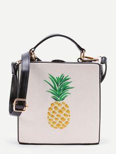 Pineapple Embroidery Grab Bag