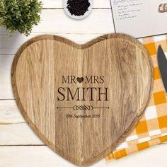Mr and Mrs Personalised Heart Oak Chopping Board