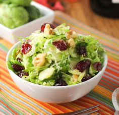 Looks interesting, need to try. Crunchy Brussels Sprouts Salad with a cranberry twist