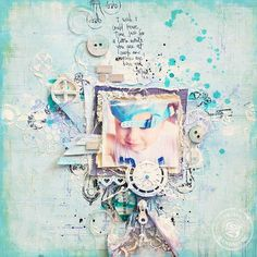 shabby chic, boy scrapbook layout, Prima Firefly, blue, mixed media