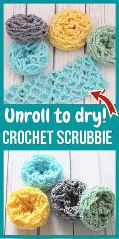 Best Crochet Scrubbie Free Pattern (Unroll to Clean) - Crochet Dreamz - Make these crochet scrubbies in place of your dishcloths and you will never look back. You will lov - Crochet Pattern Free, Crochet Diy, Crochet Gratis, Crochet Fabric, Crochet Home, Knitting Patterns, Crochet Patterns, Crochet Dishcloths Free Patterns, Crochet Geek
