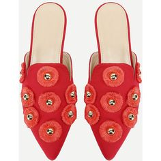 SheIn(sheinside) Studded Decorated Pointed Toe Flats (2.155 RUB) ❤ liked on Polyvore featuring shoes, flats, embellished flat shoes, pointed toe flats, studs shoes, red flats and red flat shoes