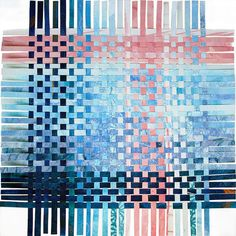 Blue Pink Paper Weaving ©2016 - Original Handwoven Decor- Mixed Media Paper Art- Pantone 2016, Modern Abstract Art. The color of the sea and sky with touches of pink and white. A Pantone trend this year. This square can be framed as shown or at an angle like a diamond. Paper weavings are something I love to create, whether I am up-cycling a previous piece or creating surfaces and textures on paper specifically to weave. SIZE: 11 x 11 inches (27.94 cm.) Can be matted or mounted. I have…