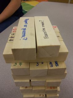 Conversation Jenga. Can be used for getting to know classmates on the first day of school. Other ways to use Jenga-quiz question practice, vocabulary words, math questions