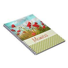 #stylish - #Cute Classic Poppy Flowers Meadow Field Watercolor Notebook