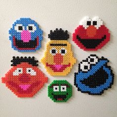 Sesame Street character heads - Grover, Elmo,  Bert, Ernie, Oscar the Grouch and Cookie Monster