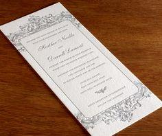 Baroque tea length letterpress wedding invitation design