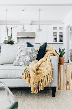 I like the Backsplash and feel of the couch with textured pillows and knit blanket. Toile Bedding, Bedding Sets, Farmhouse Side Table, Dining Chair Slipcovers, Dining Chairs, Toile Design, French Country, Embroidery Designs, Diy Projects