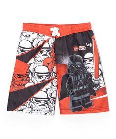 Another great find on #zulily! LEGO Star Wars Storm Trooper & Darth Vader Swim Trunks - Boys #zulilyfinds