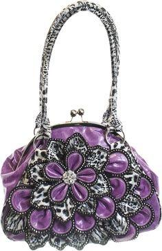 Purple purse with huge flower... Hand bag