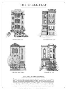 Chicago Foursquare, Victorian, Three-Flat, Six-Flat Drawings Interior Architecture, Interior And Exterior, Building Drawing, Second Empire, Sims House, Victorian Homes, Home Fashion, Planer, Facade