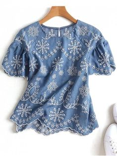 Embroidered Scalloped Top - DENIM BLUE M
