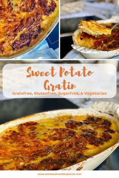 Cheesy Sweet Potato Gratin is a delicious side dish to any roast dinner! Cheesy, creamy & so decadent! Real Food Recipes, Great Recipes, Dinner Recipes, Yummy Food, Favorite Recipes, Healthy Recipes, Drink Recipes, Healthy Eats, Delicious Recipes