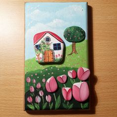 Hayal dünyam...My dream land.... #taşboyama #stonepainting #rockpainting #paintedrocks #paintedpebbles #paintedstones #sassidipinti #piedraspintadas #handmade #woodpainting #tulips