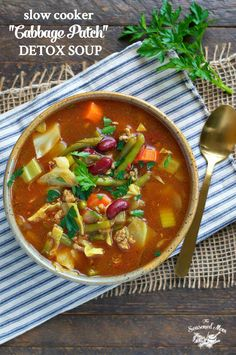 """Get your diet back on track with this SLOW COOKER """"CABBAGE PATCH"""" DETOX SOUP! Just 10 minutes of prep for a meal that's high in protein, low in carbs, cozy, and best of all – delicious!"""