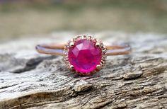 Vintage 1.10ct Rose Cut Ruby Diamond Halo Unique Engagement Ring 14k Rose Gold by DiamondAddiction on Etsy