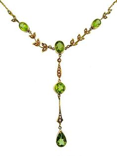 Edwardian Lavalier 18kt Peridot Necklace Peridot Jewelry, Peridot Necklace, Pearl Jewelry, Peridot Rings, Pendant Necklace, Jewelry For Her, Fine Jewelry, Jewelry Making, Jewellery