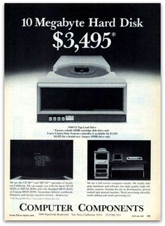 How about another 10MB Hard Drive for $ 3,495.00! Today you can get a 1TB drive for $ 85.00!! 1TB is about 100,000 times larger than 10MB!!! #ThrowbackThursday #TBT
