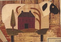 Primitive Folk Art Wool Applique Pattern:  JUNE -- SHEEP   (Wool Crazy Year). via Etsy.