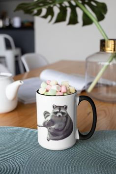 Unique and cute raccoon design. Cute Raccoon, Morning Coffee, White Ceramics, Mugs, Unique, Tableware, Etsy, Black, Design