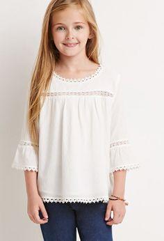 Girls Crocheted Peasant Blouse (Kids) | Forever 21 girls - 2000052257