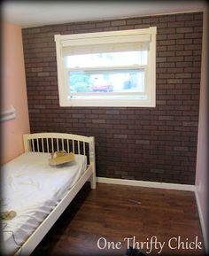 Brick wall, wall panel at Lowe's. $28 a sheet 4X8 ft.
