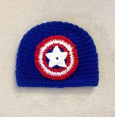 Captain America Avengers Crochet Beanie Red White by MissMoCrochet, $15.00