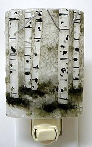 Laura Johnson - Work Detail: Black & White Aspen Grove  Night light