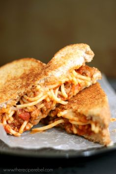 Spaghetti And Garlic Toast Grilled Cheese Recipe. A great way to use up left over spaghetti!!!!