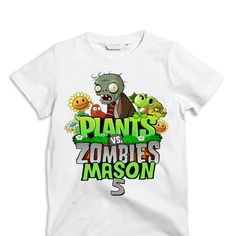 Plants vs. Zombies T shirt Iron on Transfer Plants por sohappyshop
