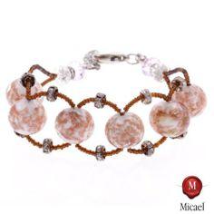 """Bracelet Murano Glass """"Cocco"""" -white Micael. $51.90"""