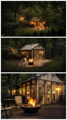 tiny house tucked in the woods The Glass House / The Green Life Green Life, Cabins In The Woods, House In The Woods, Cabins And Cottages, Small Cottages, Tiny Cabins, Modular Cabins, Log Cabins, Small Houses
