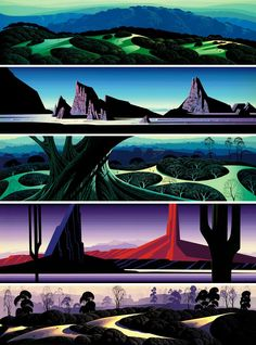 Some examples of Disney artist Eyvind Earle's personal work. http://www.gallery21.com