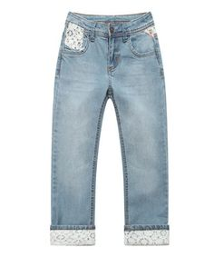 Love this Light Blue Lace Trim Jeans - Infant, Toddler & Girls by Richie House on #zulily! #zulilyfinds