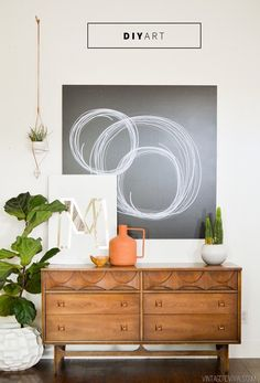 Easy & Impactful DIY Art (that you can't screw up!) that looks great in your living room or bedroom. from Vintage Revivals Diy Artwork, Diy Wall Art, Wall Decor, Room Decor, Diy Home Decor Rustic, Modern Decor, Contemporary Decor, Modern Furniture, Estilo Interior