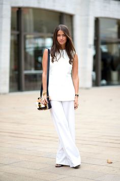 Dress in tonal colors like all white or all black.