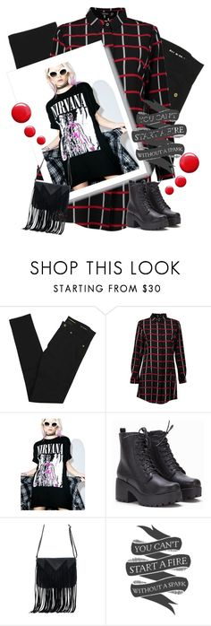 """nirvana 101"" by the-vintage-palace2016 ❤ liked on Polyvore featuring Yves Saint Laurent, Boohoo, WithChic, Native State and Topshop"