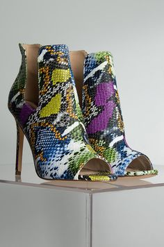 AZALEA WANG Rainbow Holo Sequin Black Sparkly Mid Calf Zip Side Stiletto Booties