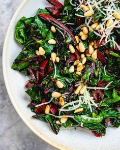 Make chard taste incredible with this sauteed rainbow chard recipe! Amp the flavors in this easy side dish by adding pine nuts and Parmesan. Healthy Side Dishes, Side Dishes Easy, Side Dish Recipes, Veggie Recipes, Healthy Recipes, Healthy Foods, Yummy Recipes, Yummy Food, Rainbow Chard Recipes